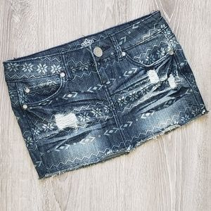 Almost Famous Size 3 Distressed Mini Jean Skirt